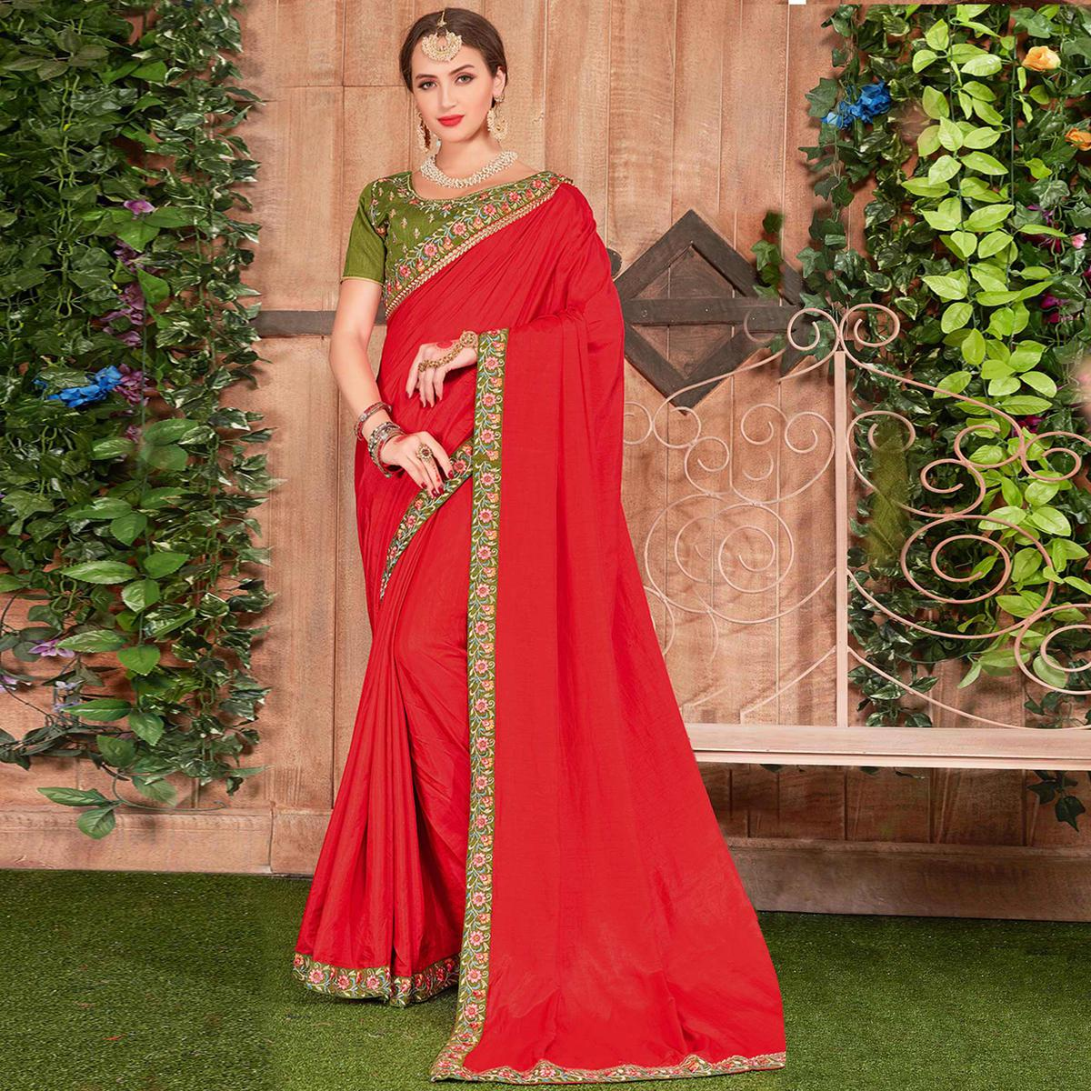 Stunning Red Colored Party Wear Embroidered Cotton Silk Saree