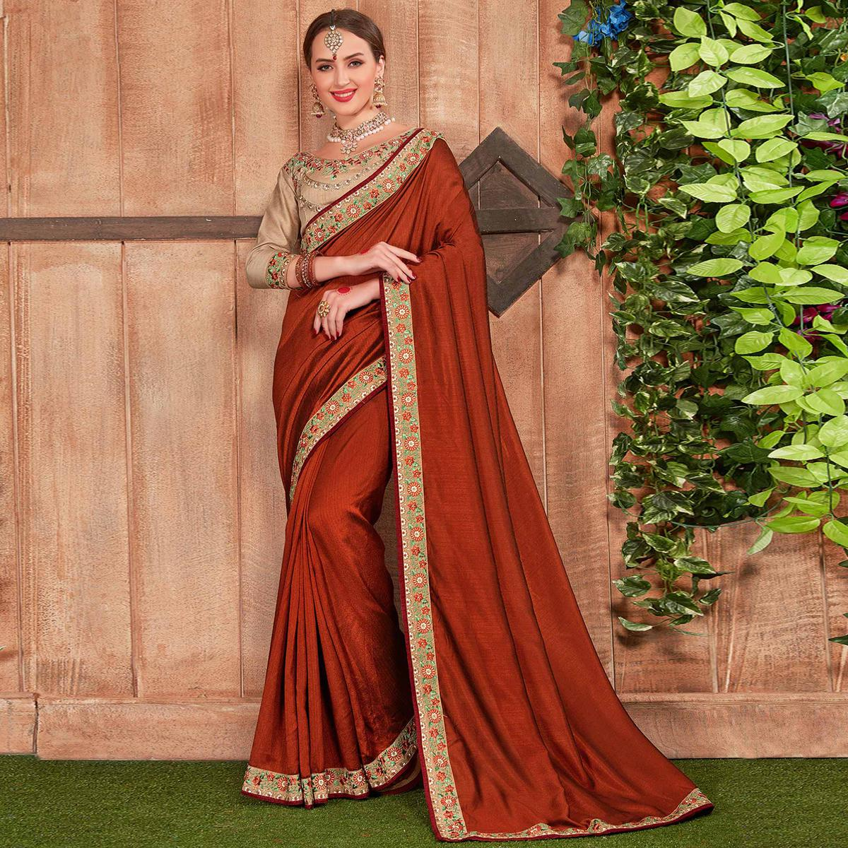 Blooming Rust Red Colored Party Wear Embroidered Cotton Silk Saree