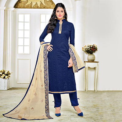 Beautiful Navy Embroidered Cotton Dress Material