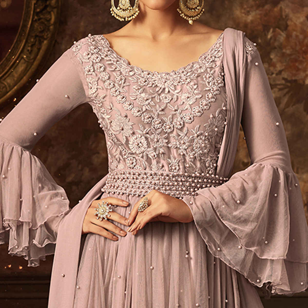 Impressive Beige Colored Partywear Embroidered Netted Palazzo Suit