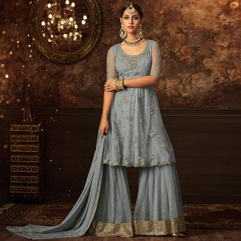 Fantastic Gray Colored Partywear Embroidered Netted Palazzo Suit