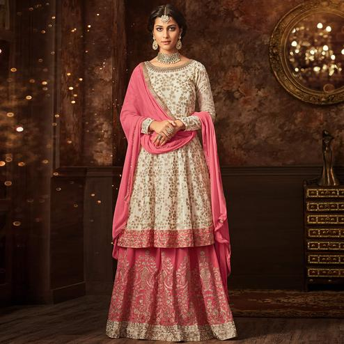 Arresting White-Pink Colored Partywear Embroidered Georgette Palazzo Suit