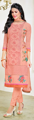 Lovely Peach Embroidered Cotton Dress Material