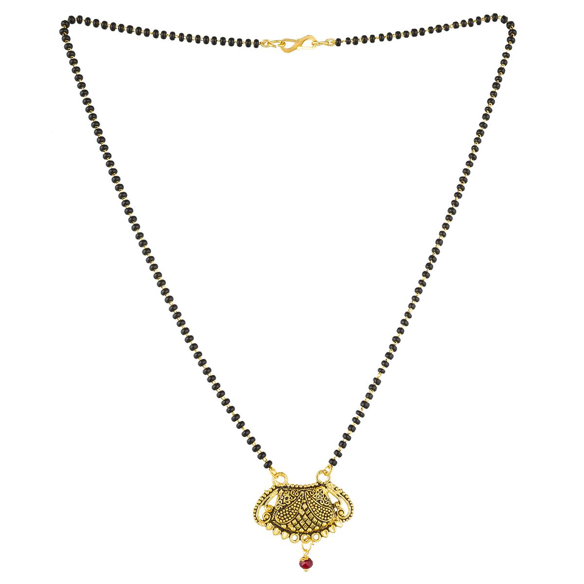 Delightful Golden Colored Stone Work Mix Metal Mangalsutra