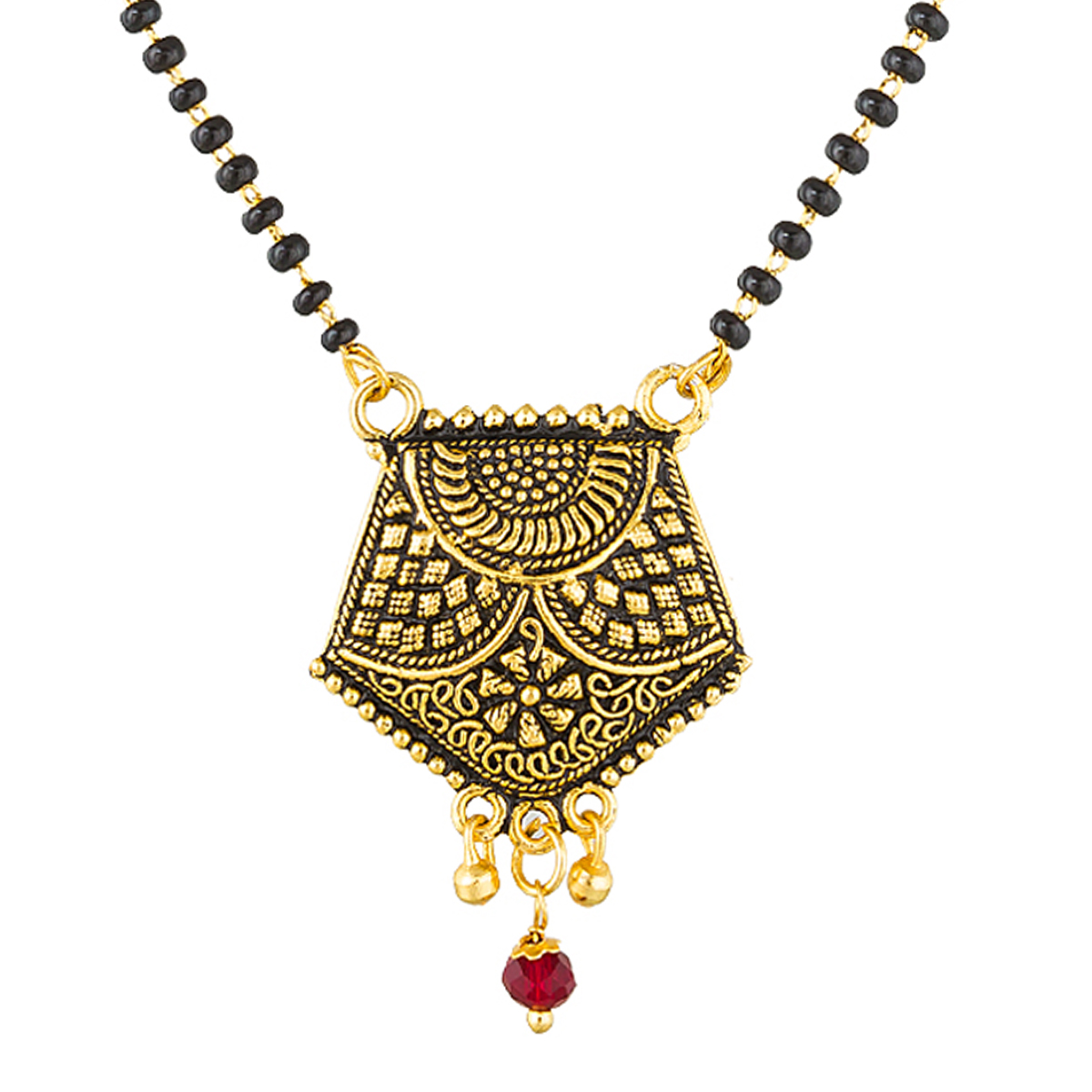 Mesmerising Golden Colored Stone Work Mix Metal Mangalsutra