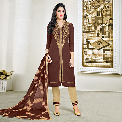 Elegant Brown Embroidered Cotton Dress Material