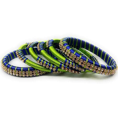 Glorious Green & Blue Colored Silk Thread & Stone Work Bangles - Set Of 6