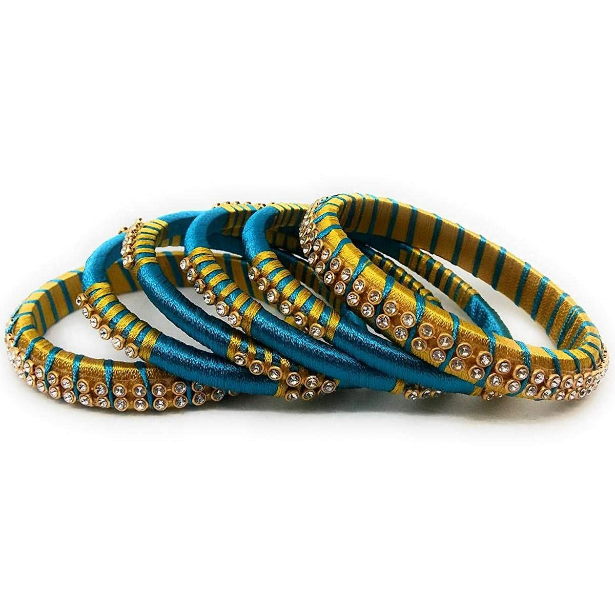 Lovely Blue & Yellow Colored Silk Thread & Stone Work Bangles - Set Of 6