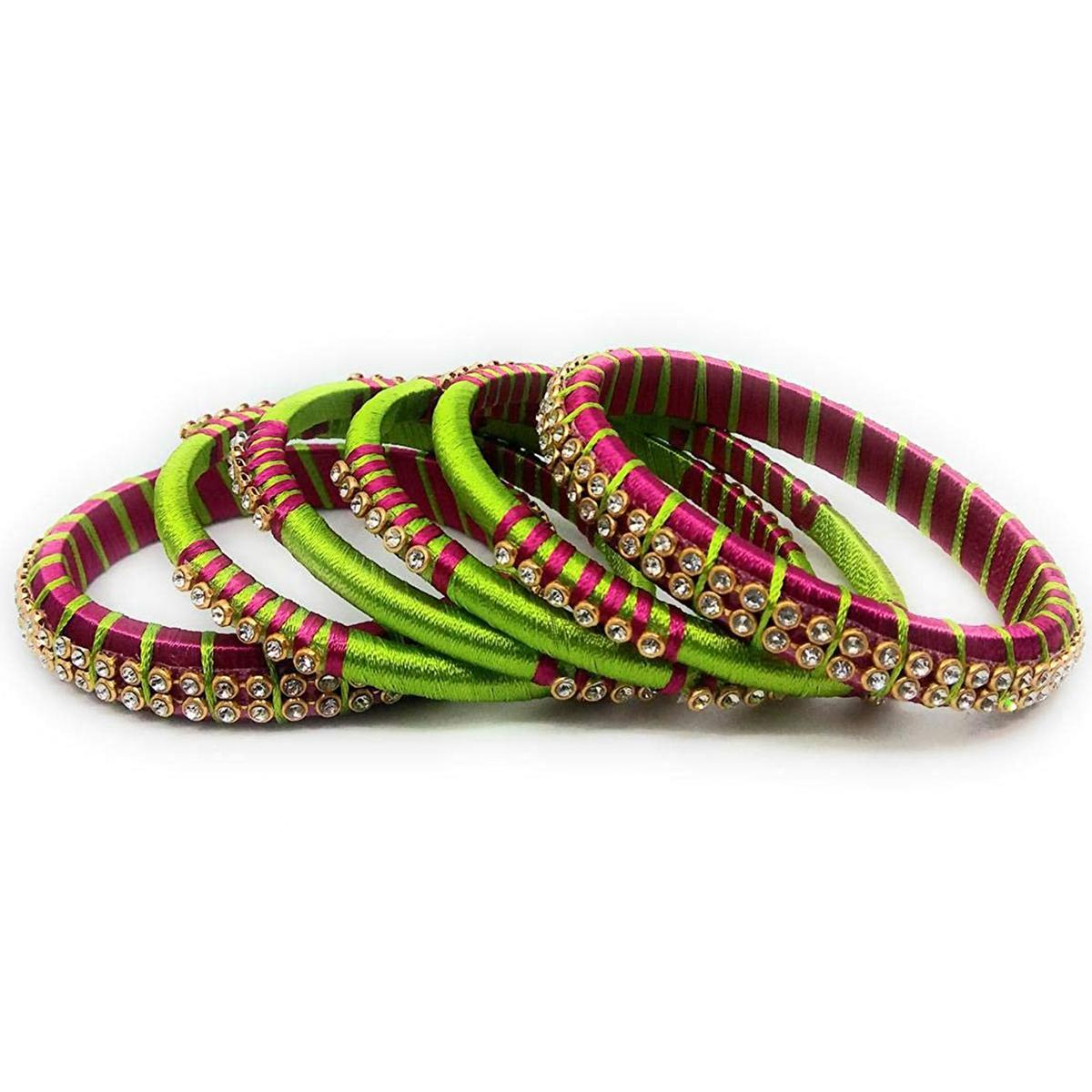 Pretty Green & Pink Colored Silk Thread & Stone Work Bangles - Set Of 6