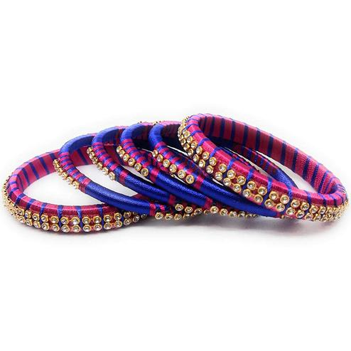 Pleasant Blue & Pink Colored Silk Thread & Stone Work Bangles - Set Of 6