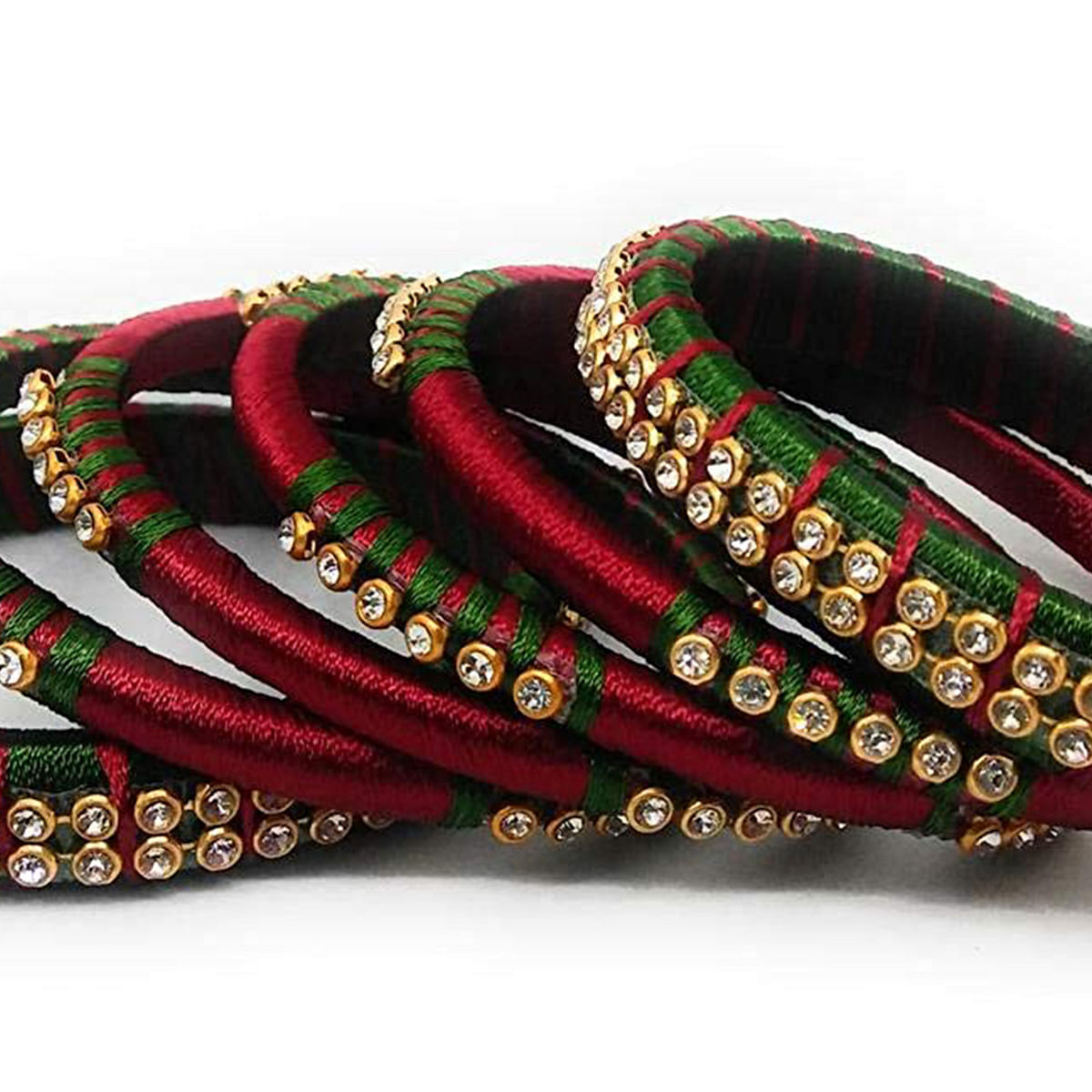 Impressive Maroon & Green Colored Silk Thread & Stone Work Bangles - Set Of 6