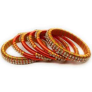 Innovative Orange & Yellow Colored Silk Thread & Stone Work Bangles - Set Of 6