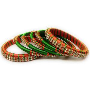 Gleaming Green & Orange Colored Silk Thread & Stone Work Bangles - Set Of 6