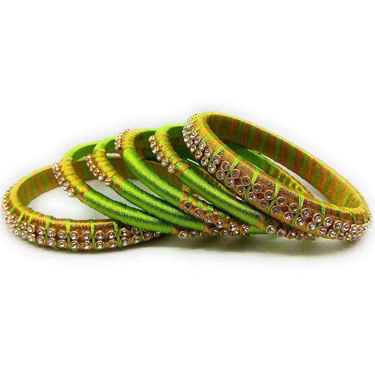 Trendy Green & Mustard Yellow Colored Silk Thread & Stone Work Bangles - Set Of 6