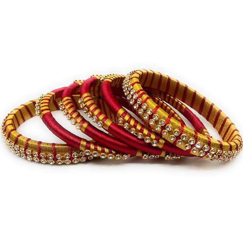 Adorning Red & Yellow Colored Silk Thread & Stone Work Bangles - Set Of 6