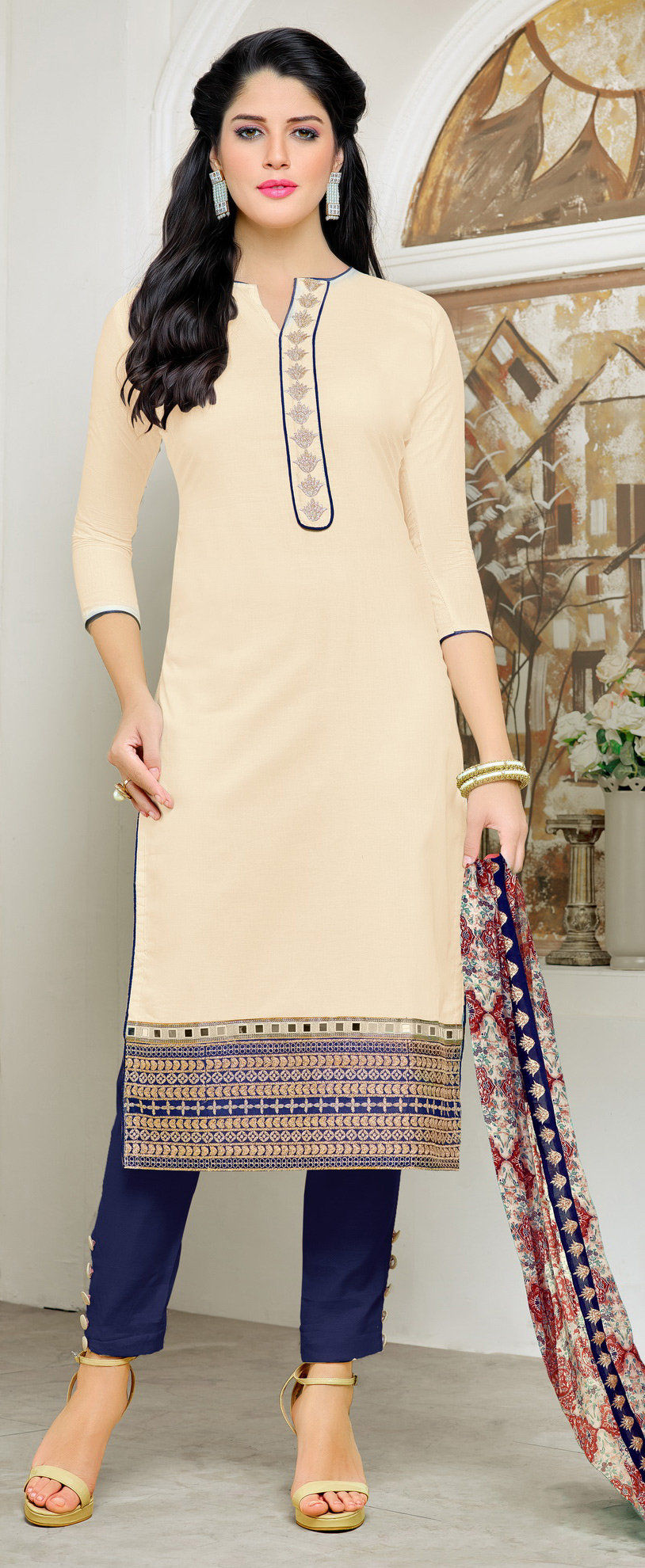 Classy Cream Embroidered Cotton Dress Material