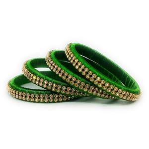 Glorious Green Colored Silk Tread & Stone Work Bangles - Set Of 4