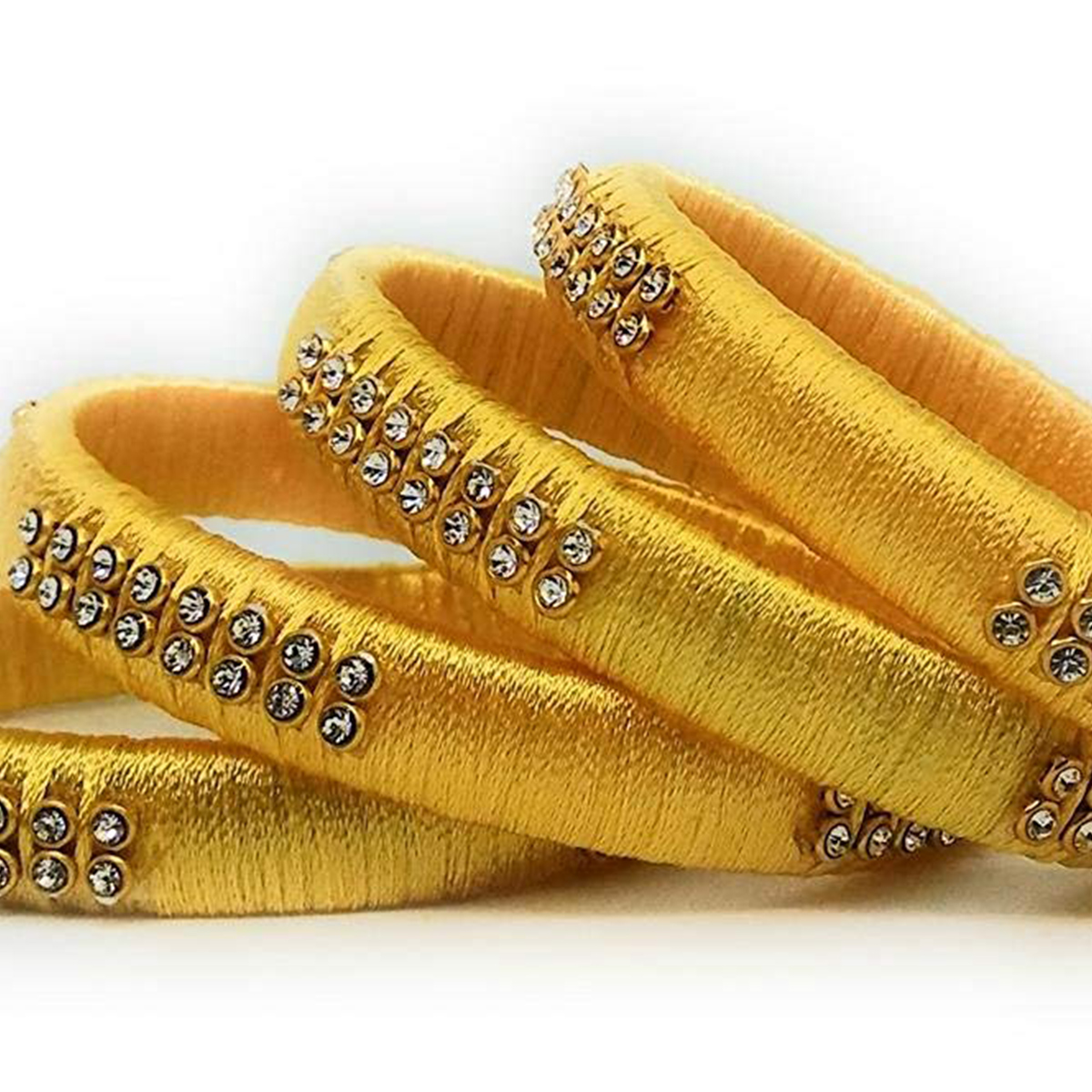 Graceful Yellow Colored Silk Tread & Stone Work Bangles - Set Of 4