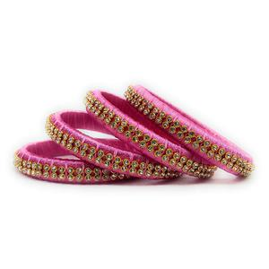 Lovely Pink Colored Silk Tread & Stone Work Bangles - Set Of 4