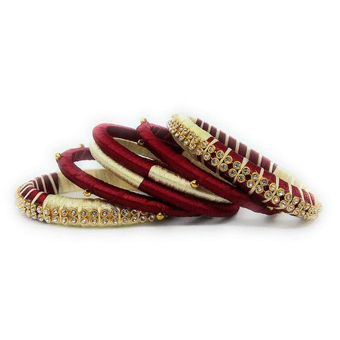 Pretty Maroon & Cream Colored Silk Tread & Stone Work Bangles - Set Of 4