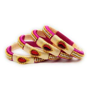 Charming Pink & Cream Colored Silk Tread & Stone Work Bangles - Set Of 4