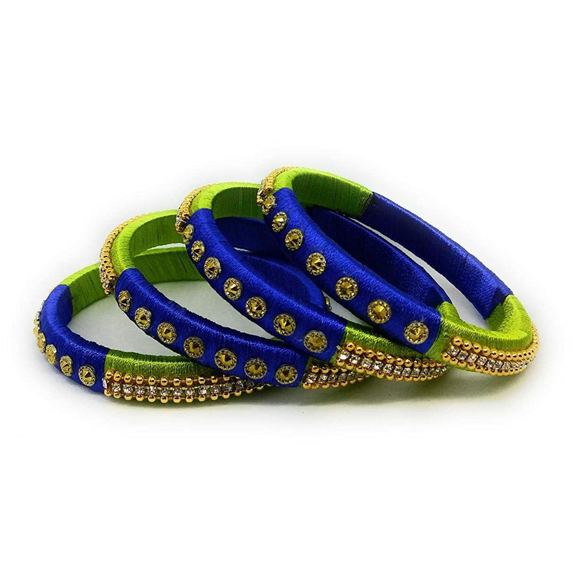 Ravishing Green & Blue Colored Silk Tread & Stone Work Bangles - Set Of 4