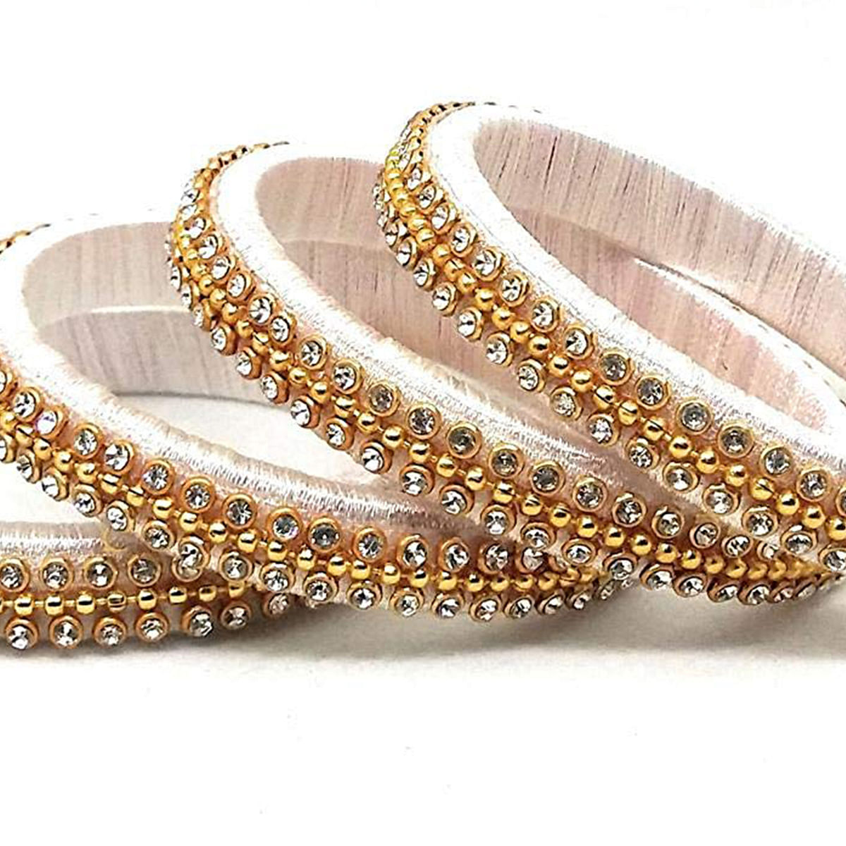 Delightful White Colored Silk Tread & Stone Work Bangles - Set Of 4