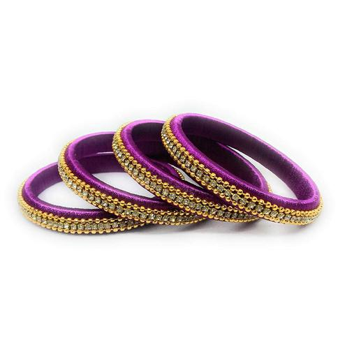 Stunning Purple Colored Silk Tread & Stone Work Bangles - Set Of 4