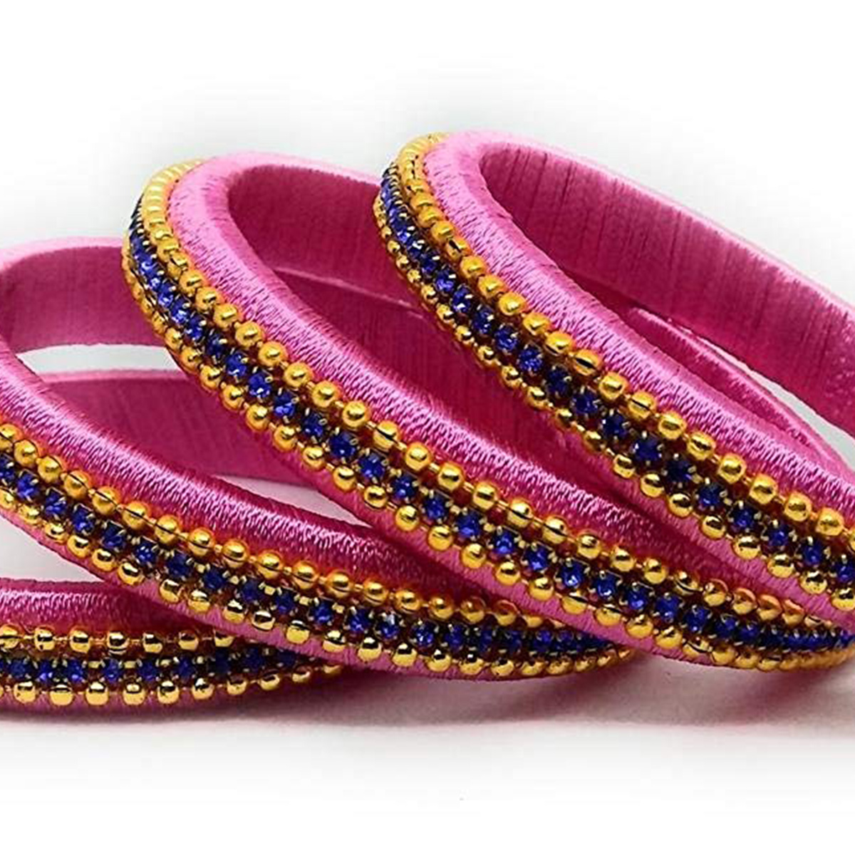 Blooming Pink Colored Silk Tread & Stone Work Bangles - Set Of 4