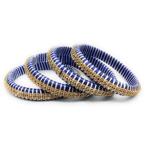Marvellous Blue Colored Silk Tread & Stone Work Bangles - Set Of 4