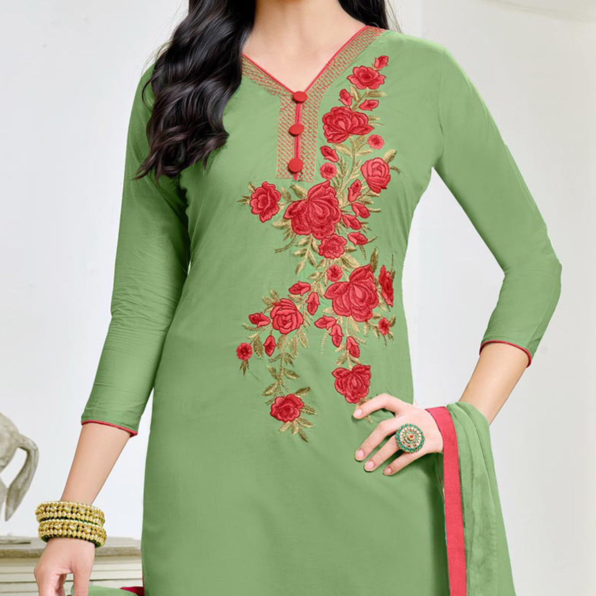 Gorgeous Green Embroidered Cotton Dress Material