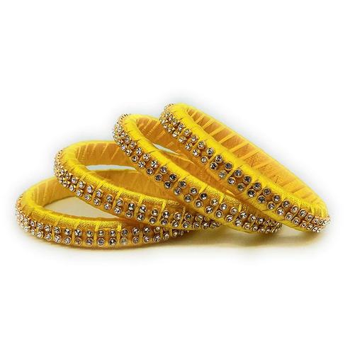 Ravishing Yellow Colored Silk Tread & Stone Work Bangles - Set Of 4