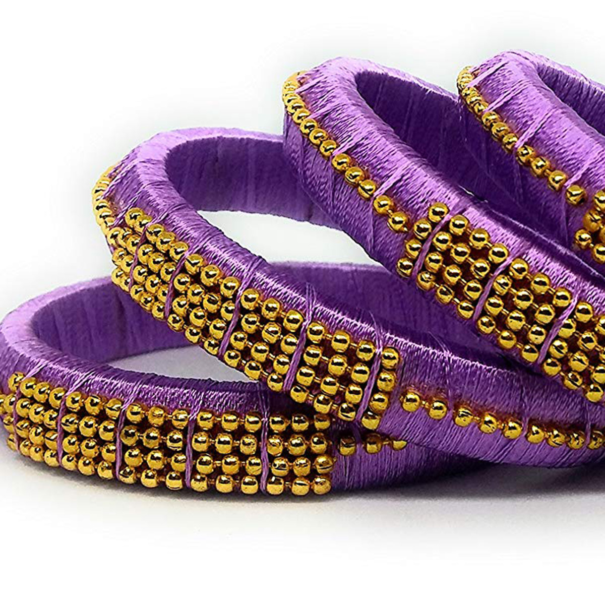 Eye-catching Light Purple Colored Silk Tread & Stone Work Bangles - Set Of 4