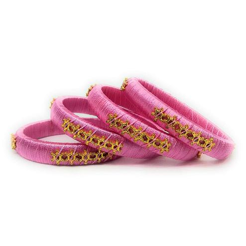 Amazing Pink Colored Silk Tread & Stone Work Bangles - Set Of 4