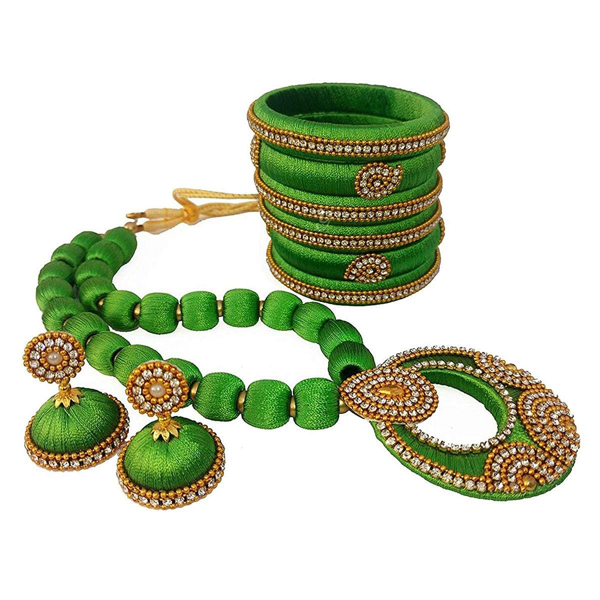 Gorgeous Green Colored Stone Work Silk Thread Necklace Set