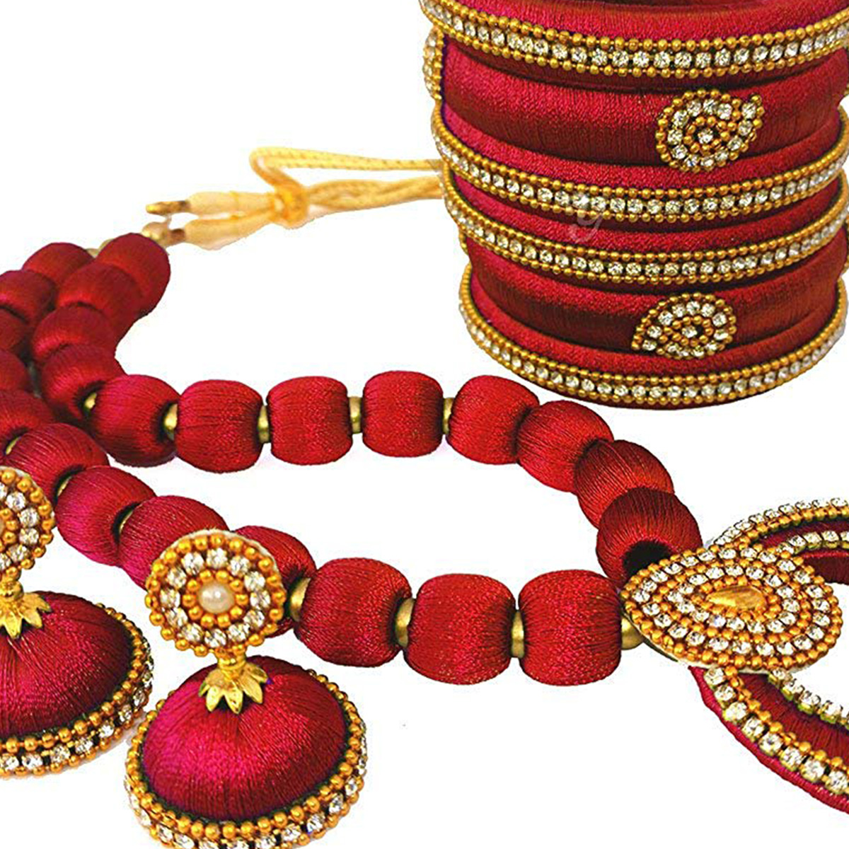 Adorable Maroon Colored Stone Work Silk Thread Necklace Set