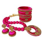 Attractive Rani Pink Colored Stone Work Silk Thread Necklace Set