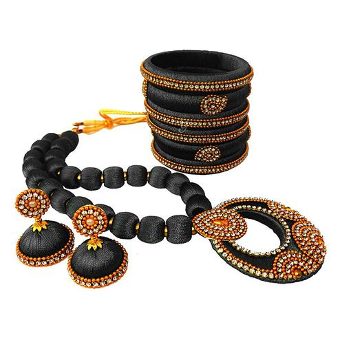 Pleasant Black Colored Stone Work Silk Thread Necklace Set