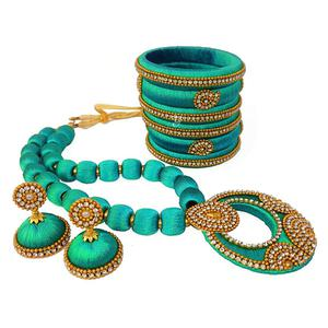 Unique Turquoise Blue Colored Stone Work Silk Thread Necklace Set