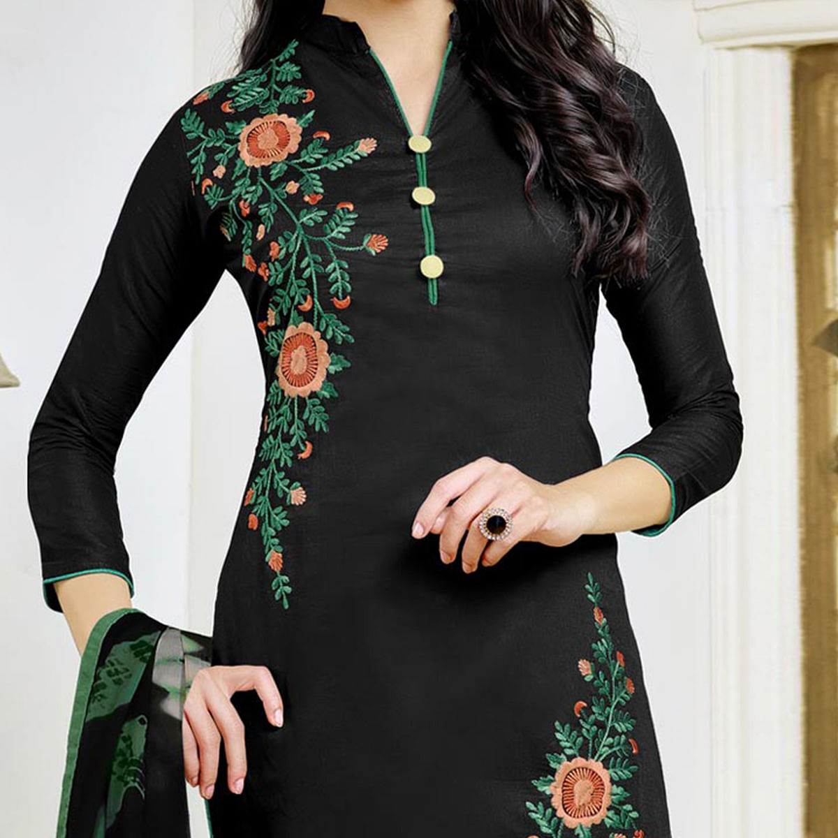 Stunning Black Embroidered Cotton Dress Material