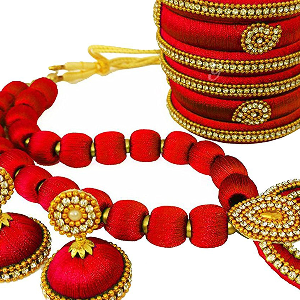Refreshing Red Colored Stone Work Silk Thread Necklace Set