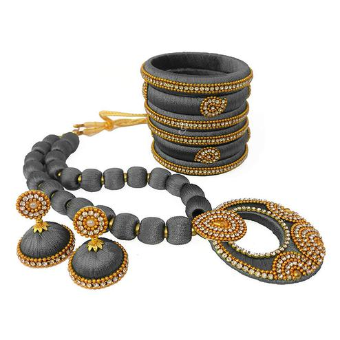 Elegant Grey Colored Stone Work Silk Thread Necklace Set