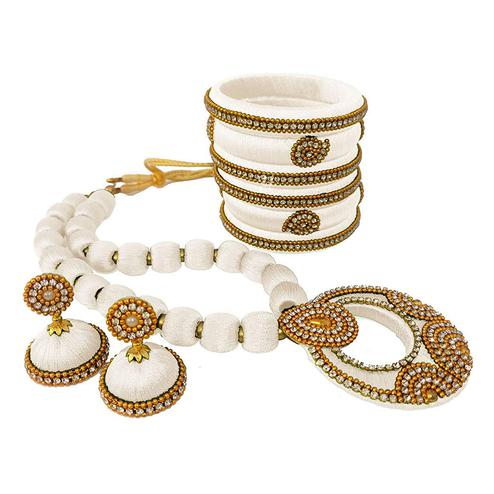Alluring White Colored Stone Work Silk Thread Necklace Set