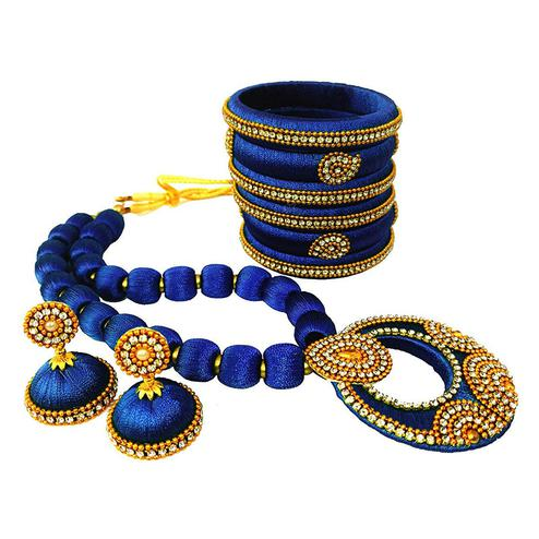 Radiant Royal Blue Colored Stone Work Silk Thread Necklace Set