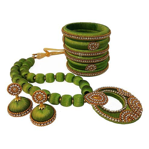 Sensational Olive Green Colored Stone Work Silk Thread Necklace Set