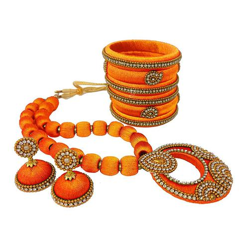 Opulent Orange Colored Stone Work Silk Thread Necklace Set