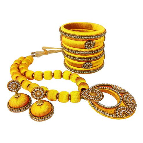 Charming Yellow Colored Stone Work Silk Thread Necklace Set