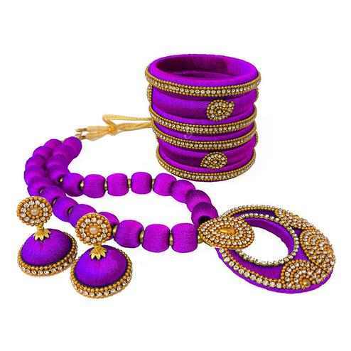 Ravishing Light Purple Colored Stone Work Silk Thread Necklace Set