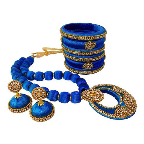 Delightful Blue Colored Stone Work Silk Thread Necklace Set