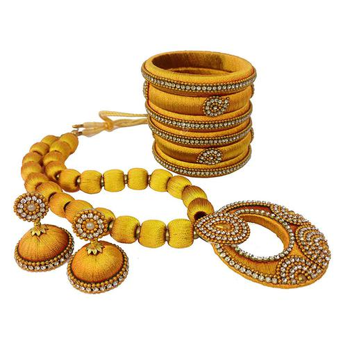 Stunning Mustard Yellow Colored Stone Work Silk Thread Necklace Set